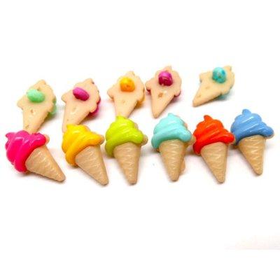 10 bottoni in plastica a forma di gelato