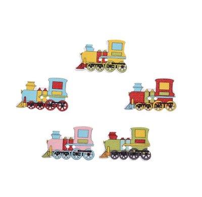 10 bottoni in colorati legno stampati a forma di trenino