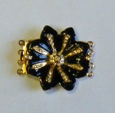 chiusura fermaglio per collana, a 4 fili in metallo dorato strass e smalto