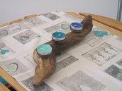 Portacandele in legno bitorto naturale