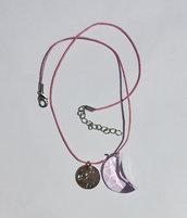 Collana con pendente costellazione dello zodiaco, Swarovski mezzaluna rosaline e cordoncino rosa