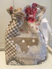 Sacca porta biancheria intimo/costumi patchwork