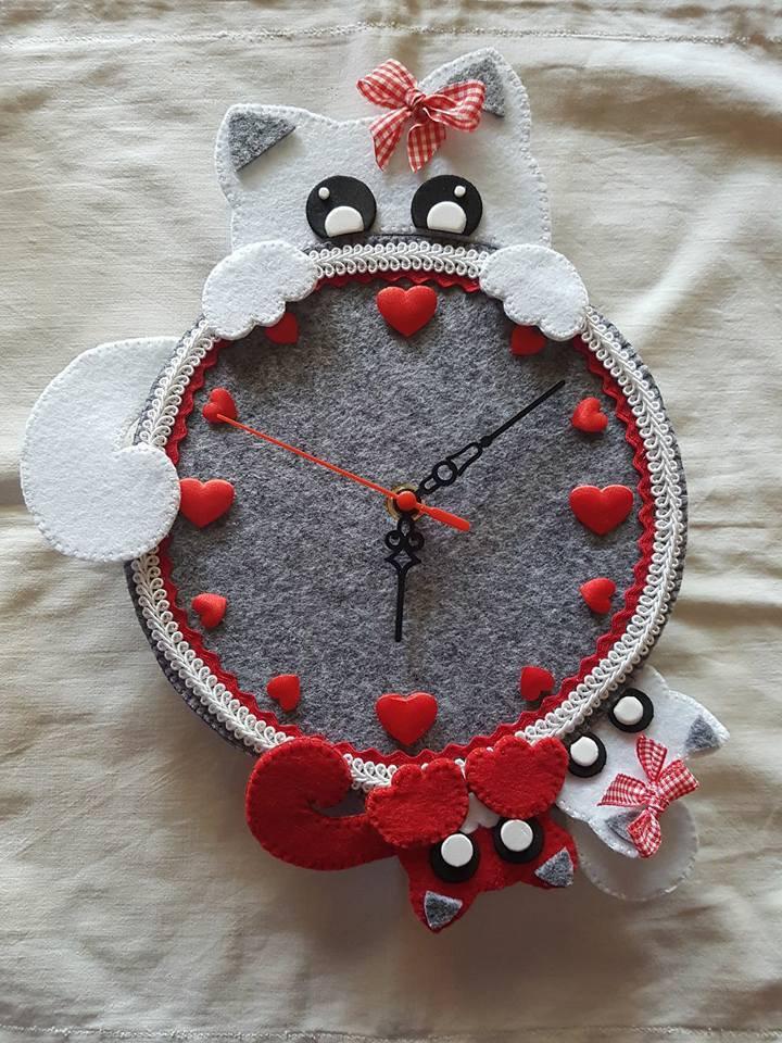orologio gattini in feltro
