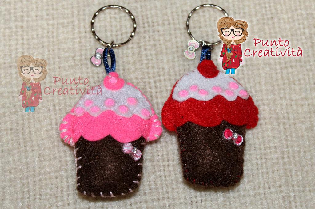 Portachiavi cupcake in pannolenci