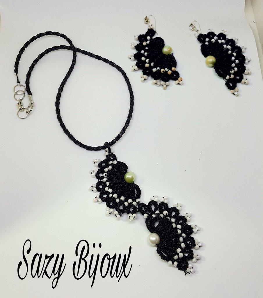 WIDOW: Collana e Orecchini al chiaccherino in flato gioiello nero e micro-perle