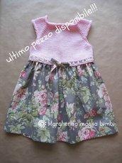 Abito bambina in cotone rosa con corpetto in maglia e tessuto americano