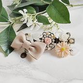 Fermaglio per capelli estate primavera cerimonia moda stile vintage con madreperla, fiocco -