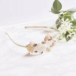 """Cerchietto per capelli sposa o damigella matrimonio o cerimonia con madreperla, fiocco, cristalli e fiori in resina - """"Dream papillon"""""""