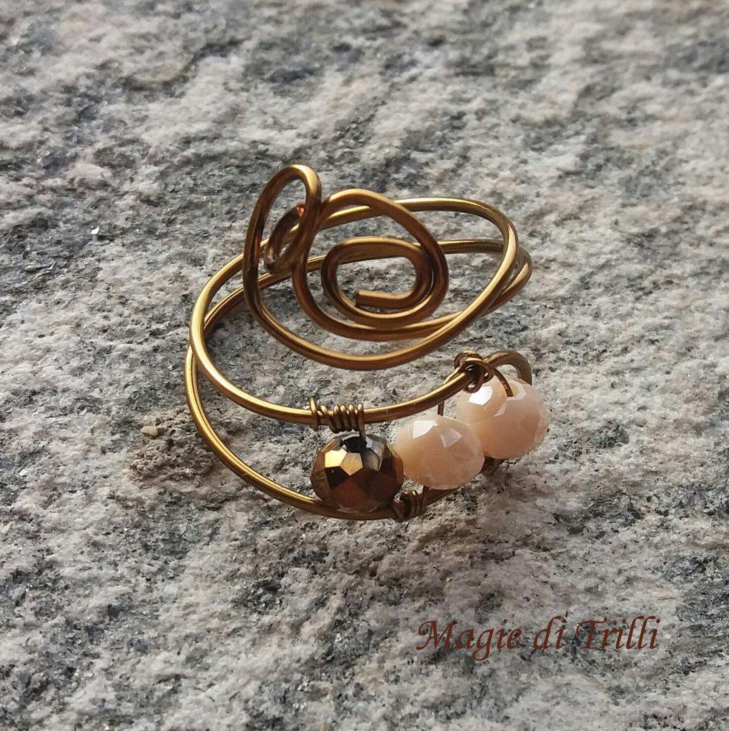 Anello donna in filo per gioielli color bronzo, con cristalli, regolabile
