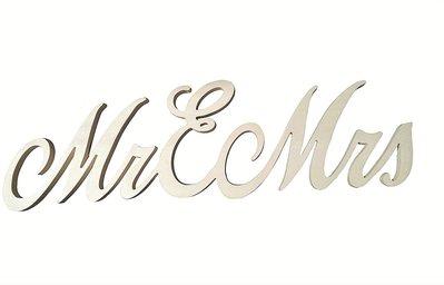 Scritta in legno MR & MRS