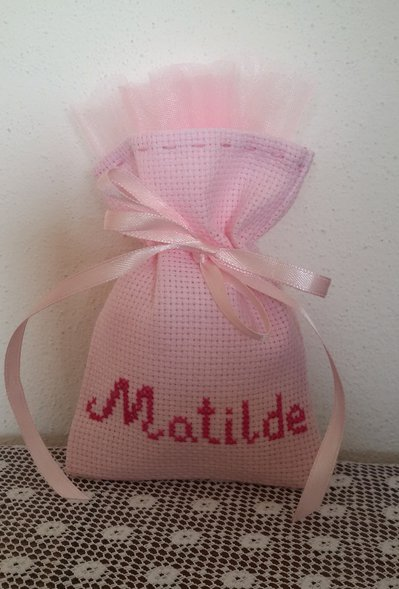 "Inserzione riservata n.50 sacchettini tela aida colorata ""Matilde"""