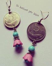 Orecchini con monete italiane, fuori corso ,5 lire