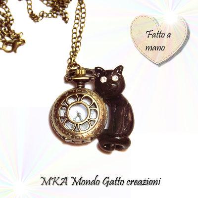 Orologio da collo con catena in bronzo e Gatto in Fimo -Tic Tac Cat