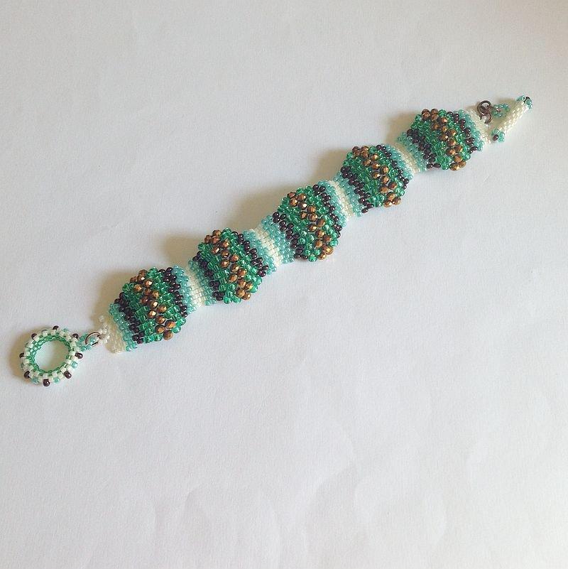 Bracciale Onde verde bronzo turchese oro e panna