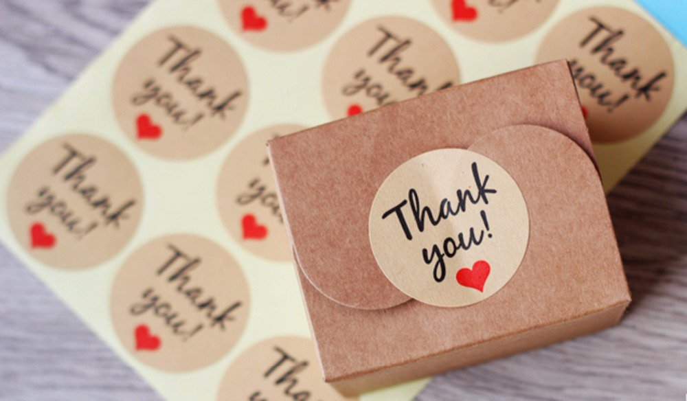 "LOTTO 10 stickers adesivi in carta ""Thank you"" (diametro 35mm)"