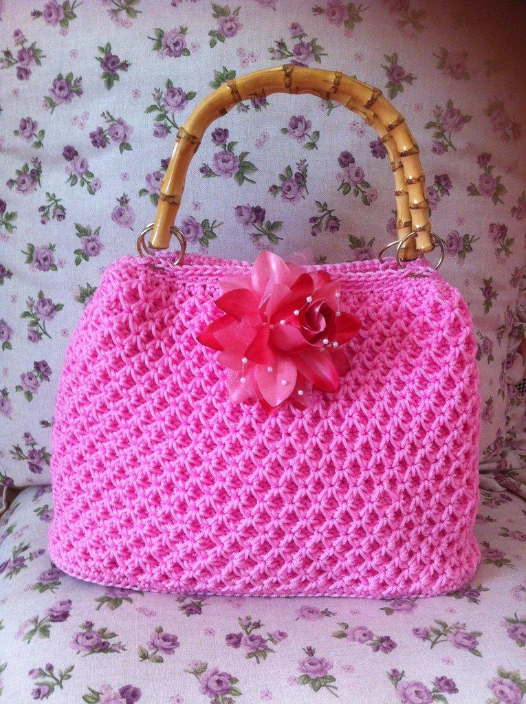 borsa rosa in cordino swan