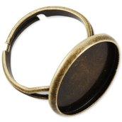Base per anello con cabochon diametro 16mm tono bronzo