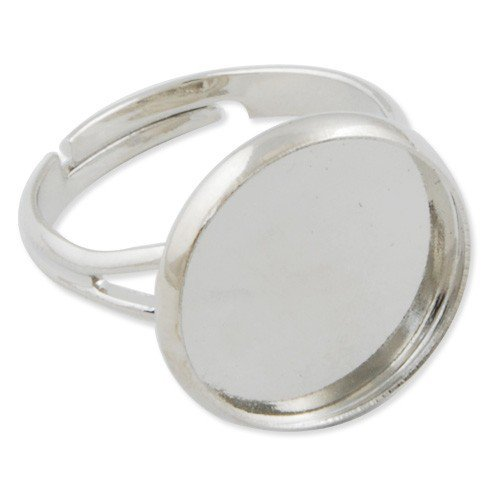 Base per anello con cabochon diametro 14mm tono rodio