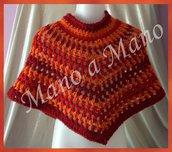 Poncho Bambini - righe arancione, bordeaux e rosso