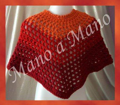 Poncho - Arancione rosso e bordeaux