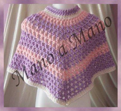 Poncho  Bambina - rosa e lilla