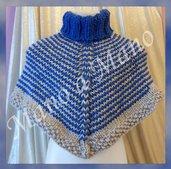 Poncho Bambino - Grigio perla e blu