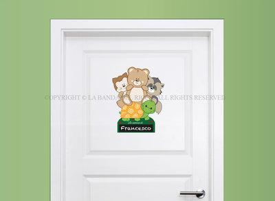 Adesivi per porta cemeretta con lavagna Il Bosco