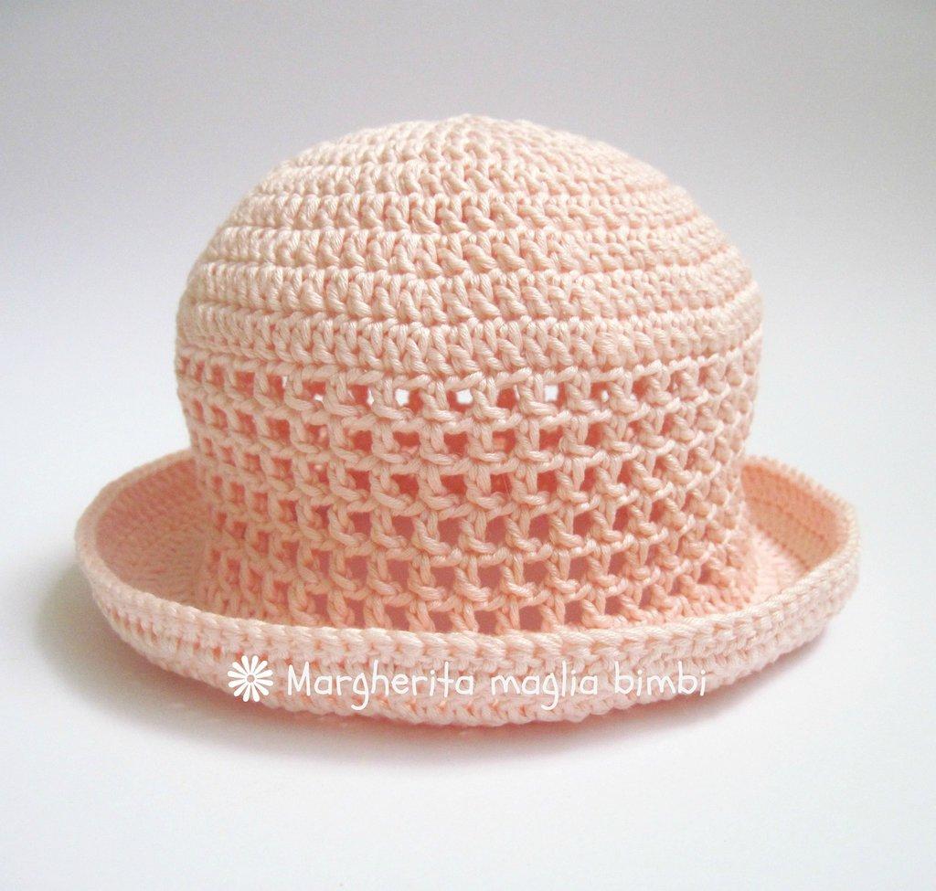 pacchetto elegante e robusto fabbrica comprare nuovo Cappellino/cappello neonata/bambina con trafori e tesa in cotone rosa pesca  - uncinetto - Battesimo