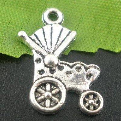 Charm carrozzina argento tibetano