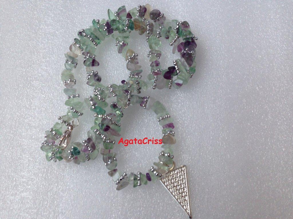 collana chips fluorite verde chiaro