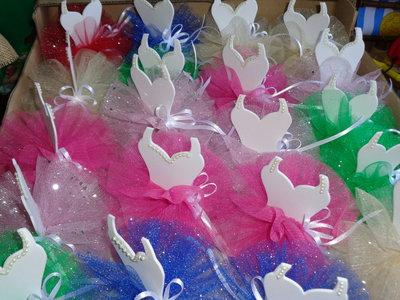 """Segnaposto confezione confetti sacchetto artigianato """"tutù ballerina"""" con confetti"""