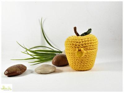 cofanetto multiuso a forma di mela color giallo. bomboniera, porta confetti , oggetto decorativo