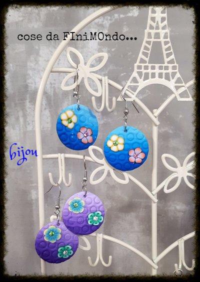 orecchini in fimo con fiori