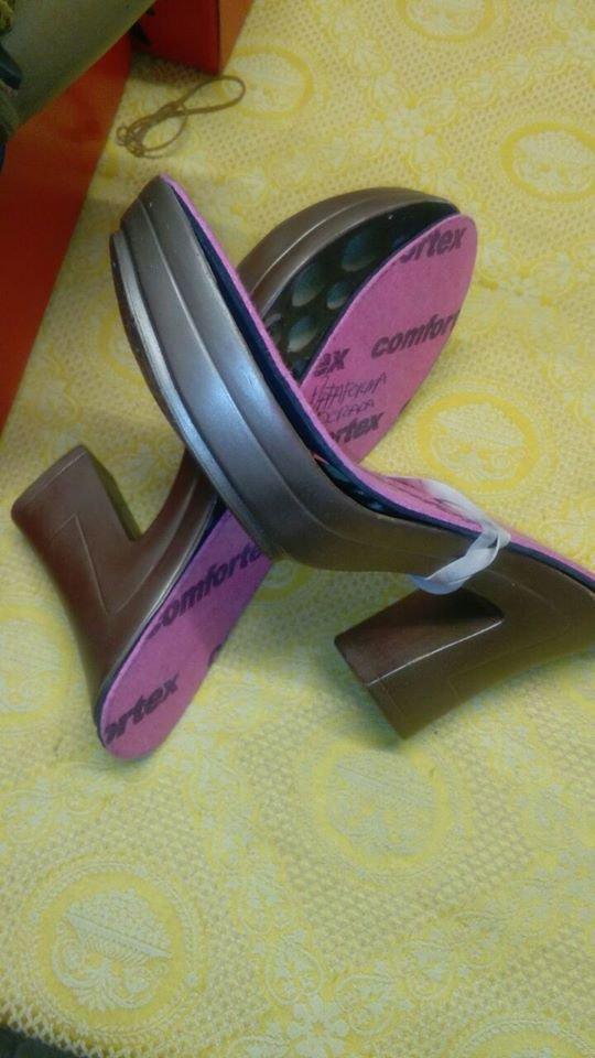 suola  tacco cubano scuro cm 23,5 tacco cm 11 modello 24