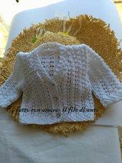Cardigan / maglia /neonata in cotone bianco lavorato a maglia