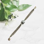 Bracciale con turchese africano moda estate elegante chic - Bracciale tendenza design artigianale - Bronzo antico - Verde acqua mare