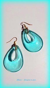Orecchini in resina handmade a forma di goccia acquamarina trasparenti idee regalo donna