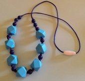 Collana dentizione con perle in silicone azzurro e blu