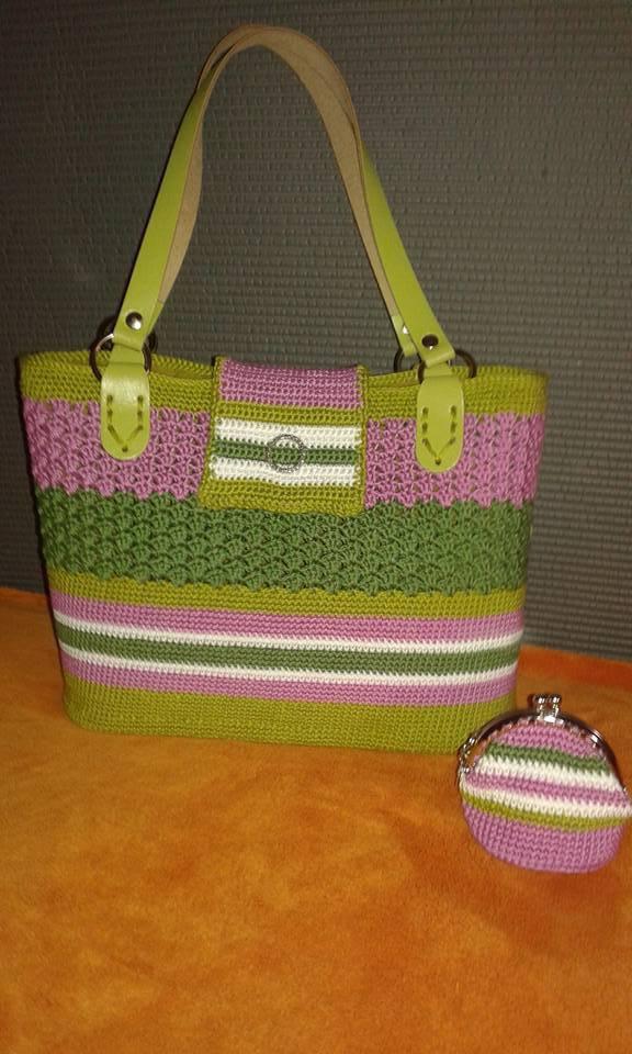 Borsa donna homemade cotone+regalo portamonete artigianale  all'uncinetto chiusura clic clack