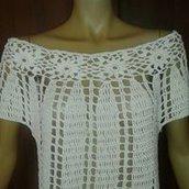 MAGLIA TOP down traforata estiva donna maglietta all'uncinetto cotone tg M, L