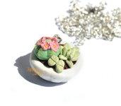 Collana con vasetto piante grasse fiori rosa in fimo idea regalo ragazza donna