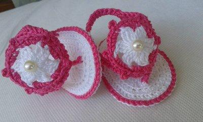 Sandali Infradito neonata cotone al'uncinetto handmade scarpina estiva bimba