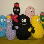 Famiglia di BARBAPAPà amigurumi peluche 9 soggetti fatti a mano uncinetto UNICO ORIGINALE