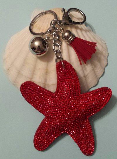 Portachiavi stella marina rossa con strass