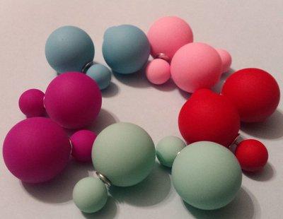 Orecchini doppia perla effetto matt