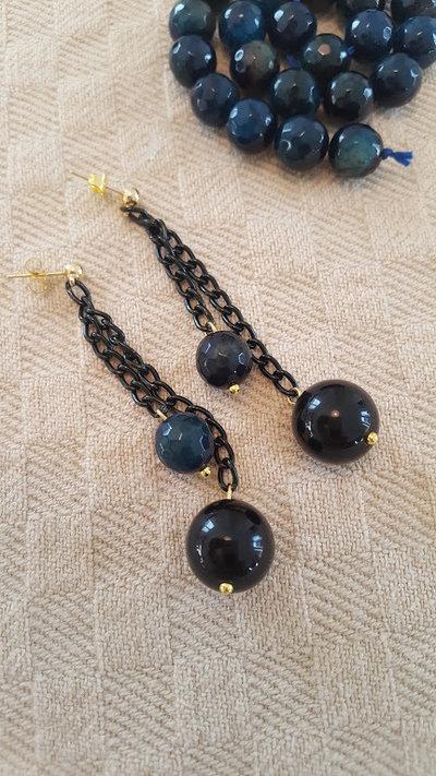 orecchini pendenti con onice nero e malachite