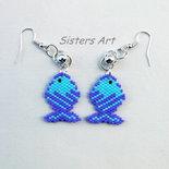 """Orecchini """"Pesce azzurro"""" realizzati con perline Miyuki delica"""