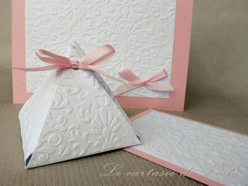 Bomboniera scatolina portaconfetti con nastro rosa per battesimo nascita baby shower