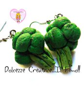 Orecchini Broccoli - Verdure - kawaii handmade idea regalo ve vegan