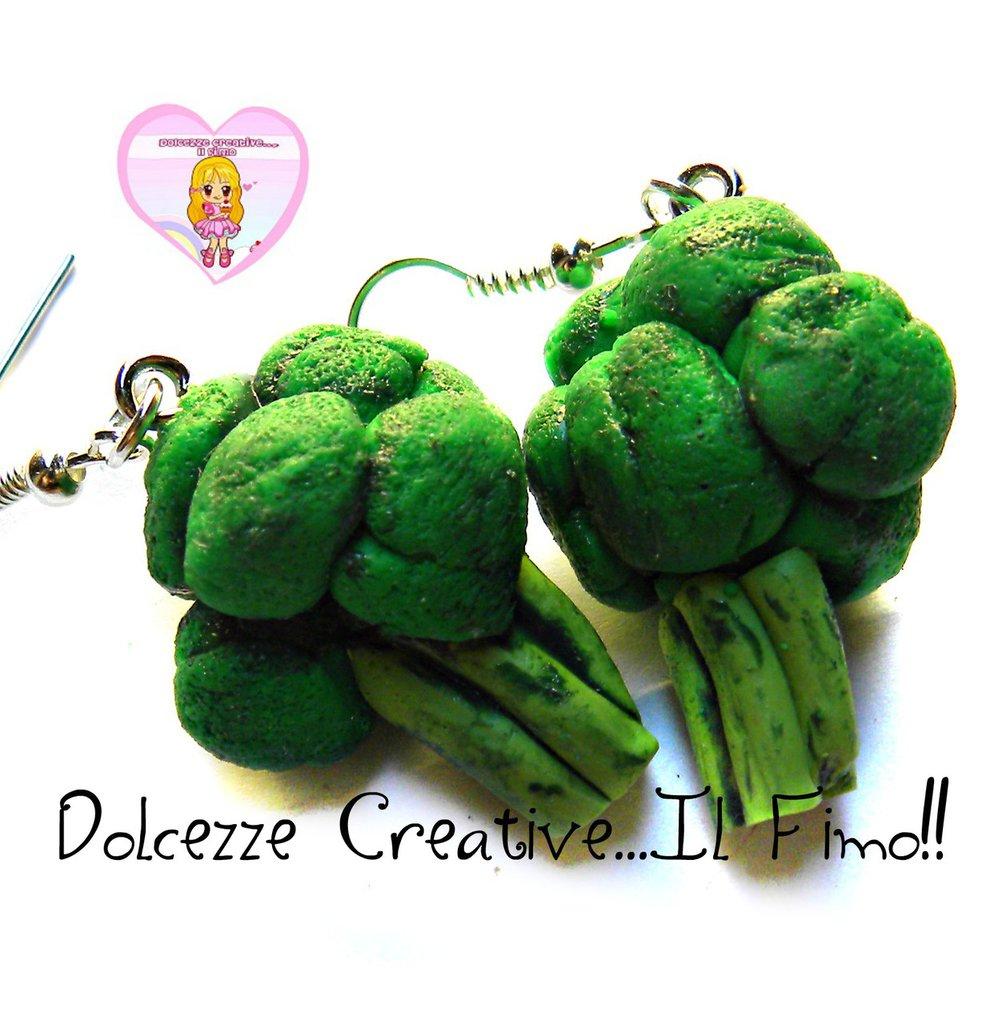 Orecchini Broccoli - Verdure - kawaii handmade idea regalo ve vegan